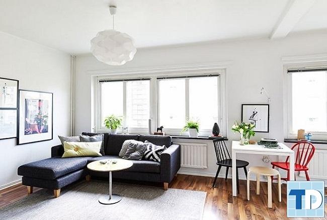 Nội thất căn hộ chung cư nhỏ màu trắng