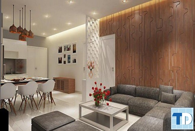 Căn hộ diện tích nhỏ phòng khách liên thông phòng bếp