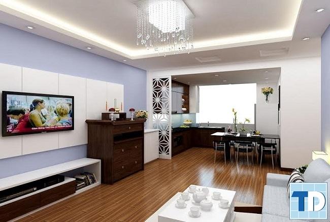 Không gian phòng khách liên thông bếp