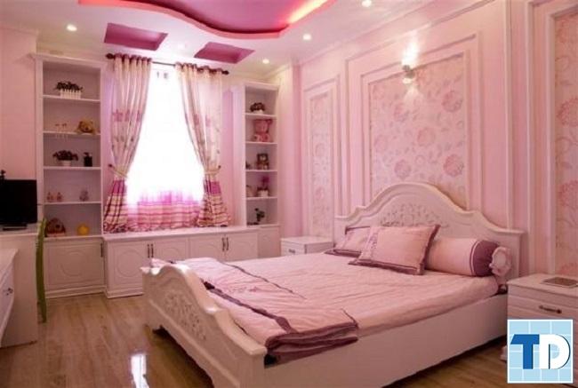 Phòng ngủ tân cổ điển bé gái đáng yêu