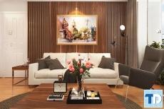 Mẫu thiết kế phòng khách đẹp nhà anh Tố chung cư sông Đà 143 Trần Phú