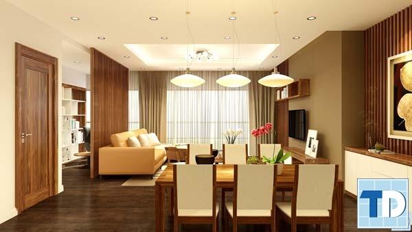Không gian phòng khách và phòng ăn ấm cúng