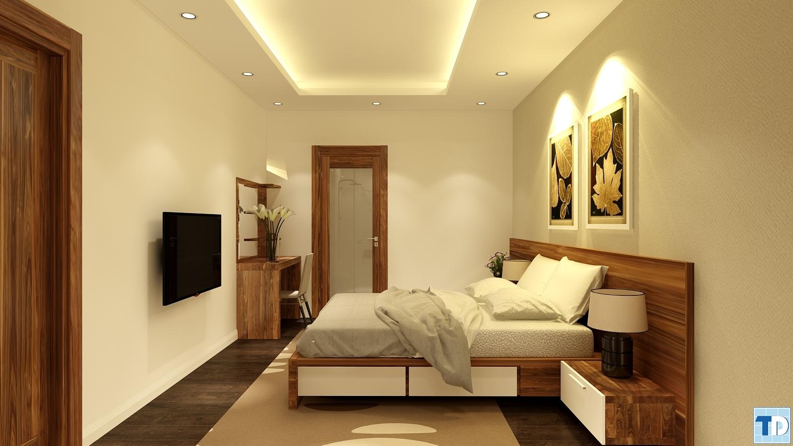 Phòng ngủ thứ hai với gam màu trầm hơn