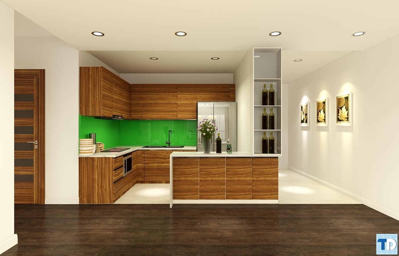 Khu bếp với gam màu trầm