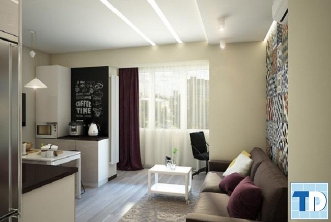 Phòng khách căn hộ chung cư nhỏ 50m2