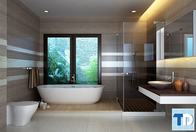 Thiết kế phòng tắm với gương lớn