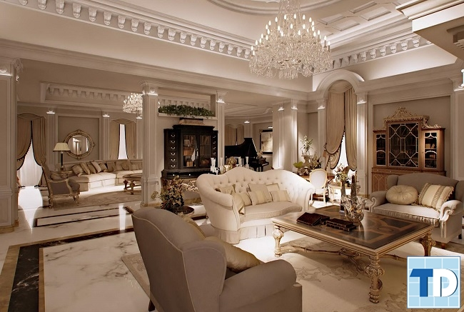 Phòng khách cổ điển lộng lẫy