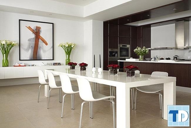 Không gian phòng ăn trang nhã với gam màu trắng