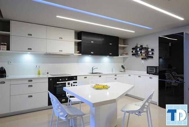 Phòng bếp sử dụng chất liệu gỗ sơn trắng sang trọng