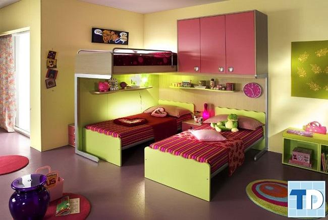 Phòng ngủ đôi dánh cho 2 bé gái