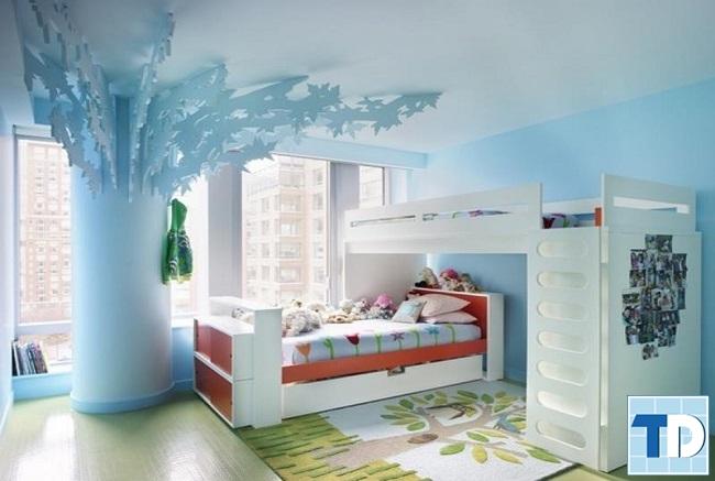 Nội thất phòng ngủ bé trai với gam màu xanh dịu mát