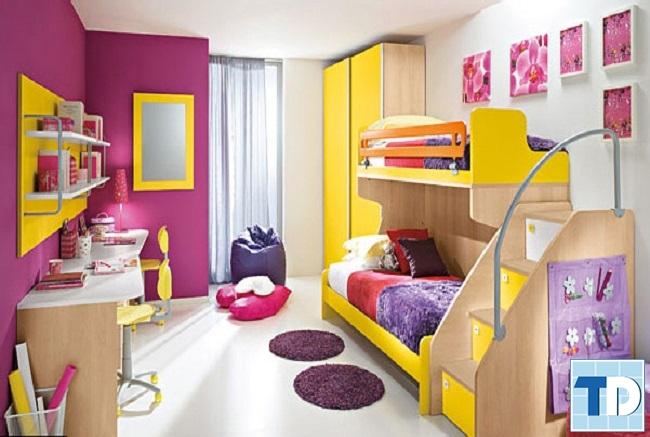 Phòng ngủ bé gái với màu sắc đáng yêu