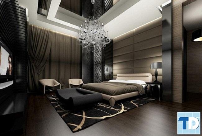 Phòng ngủ lịch lãm với tông màu tối