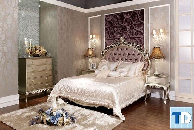 Mẫu giường hoa văn đơn giản nữ tính