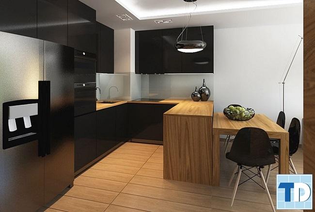 Phòng bếp sử dụng chất liệu gỗ mộc mạc