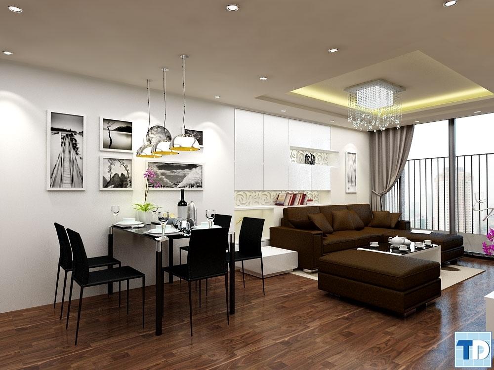 Không gian mở được thiết kế hiện đại giữa phòng ăn và phòng khách