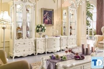 Mẫu kệ ti vi tân cổ điển đẹp nội thất nhà phố đơn giản