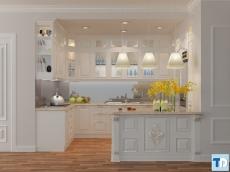 Phòng bếp nội thất nhà phố tân cổ điển đơn giản, hiện đại, sang trọng