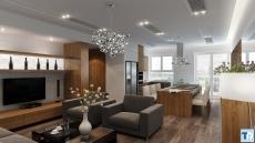 Nội thất căn hộ chung cư cao cấp với thiết kế phòng bếp đơn giản hiện đại