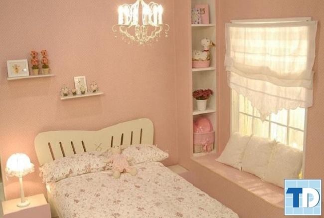 Phòng ngủ nhỏ trang trí dành cho bé gái