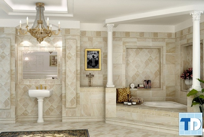 Phòng tắm tân cổ điển trắng trang nhã