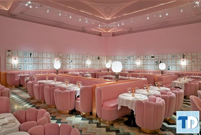 Mẫu nhà hàng với gam màu hồng xinh xắn