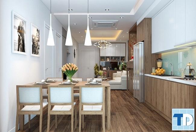Không gian phòng bếp liên thông phòng khách