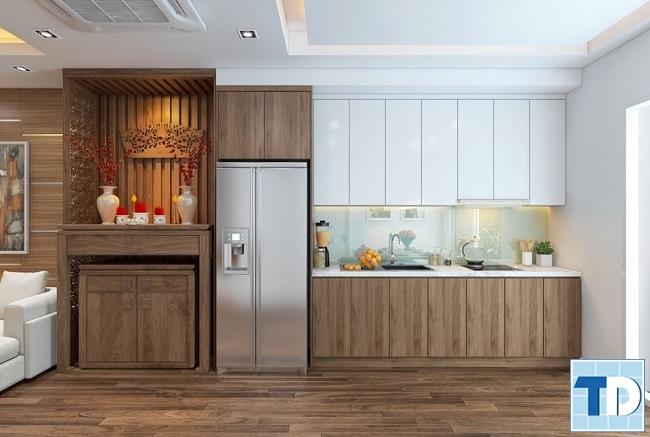 Tủ bếp mộc mạc giản dị