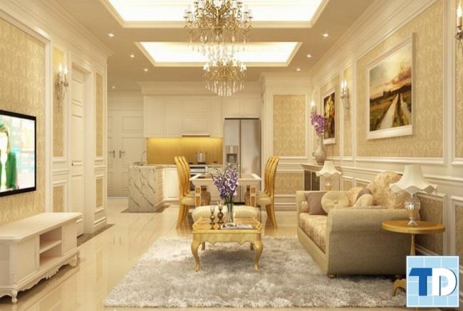 Phòng khách nhà phố tân cổ điển 4 tầng