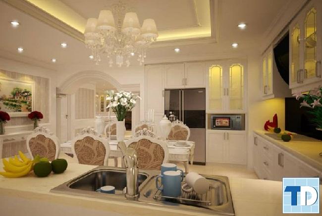 Phòng bếp và phòng ăn sang trọng, hiện đại