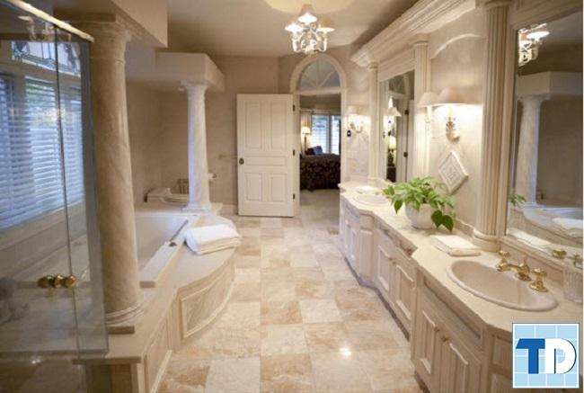 Trang trí chậu hoa cây cảnh trong phòng tắm