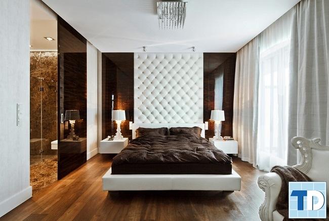 Phòng ngủ master sang trọng với tone nâu trắng