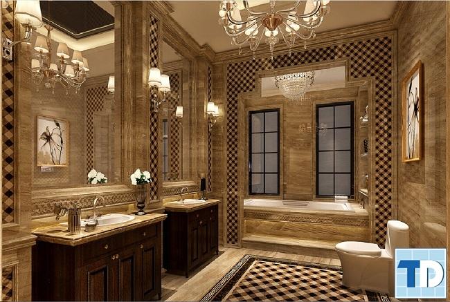 Nội thất nhà tắm tân cổ điển gỗ