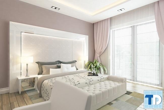 Phòng ngủ master trang nhã với gam trắng sang trọng