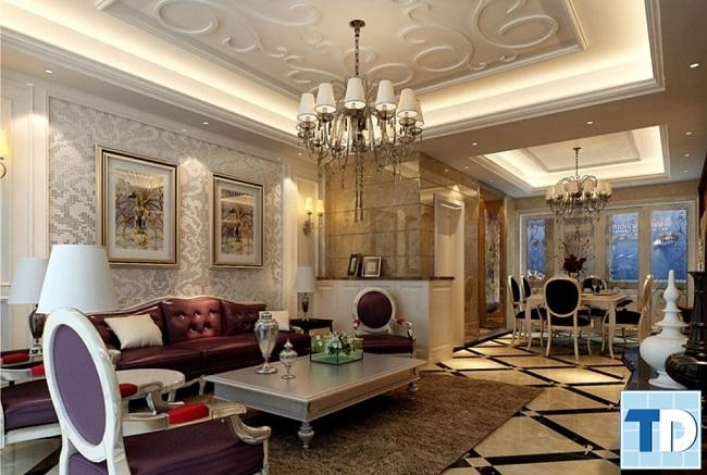 Phòng khách nhà 4 tầng tân cổ điển đẳng cấp