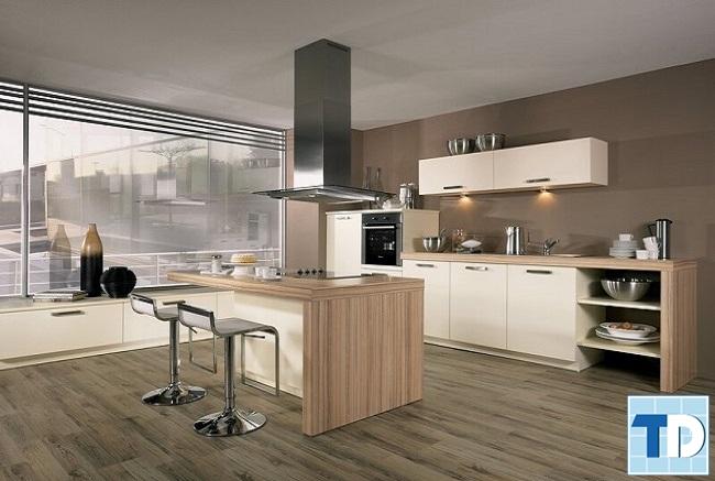 Phòng bếp gỗ mộc mạc