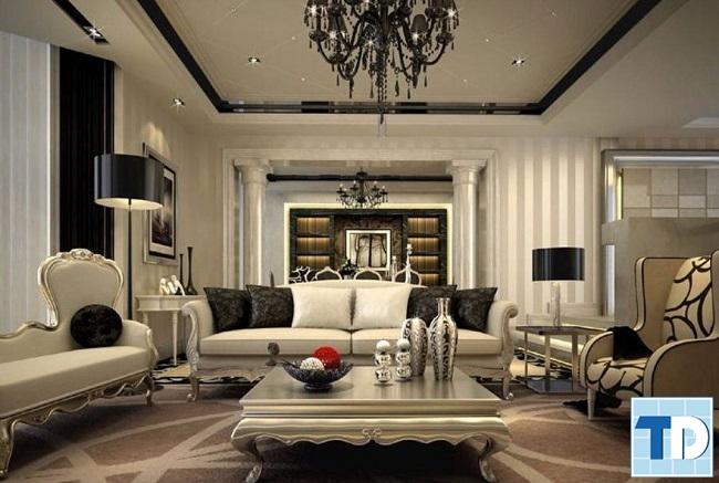 Không gian nội thất cùng trần thạch cao cao cấp