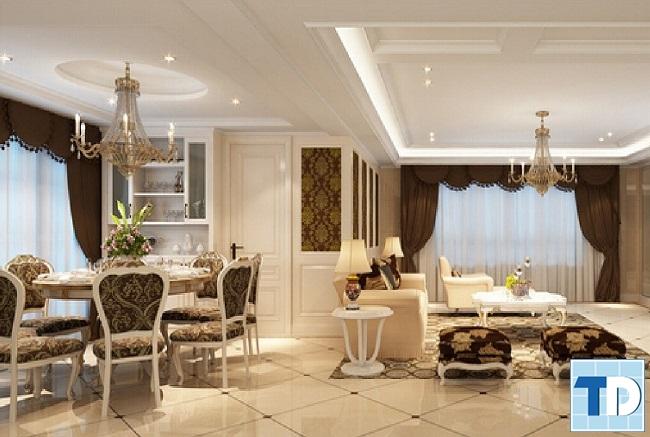 Phòng khách và phòng ăn tân cổ điển