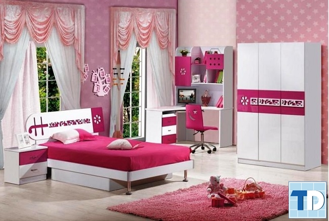 Mẫu phòng ngủ con gái dễ thương