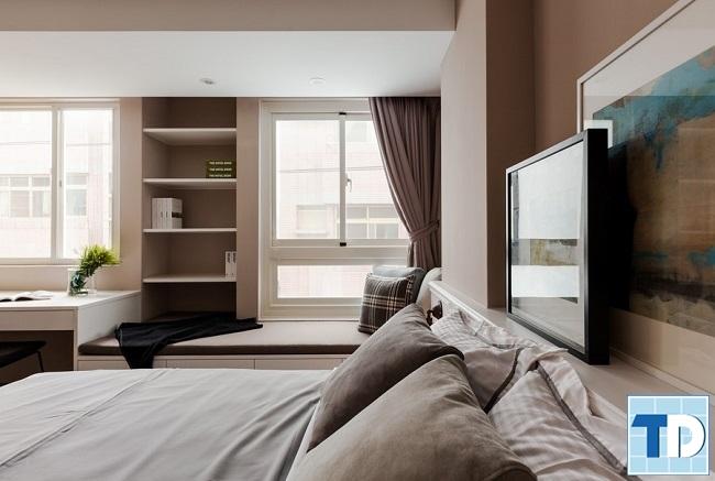 Phòng ngủ trang nhã với gam màu sáng