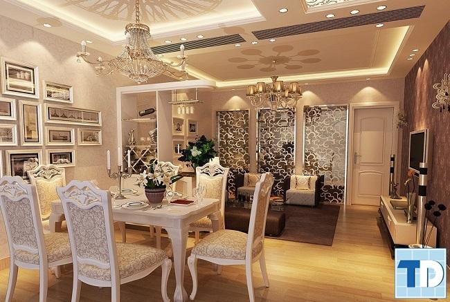 Thiết kế nội thất phòng khách chung cư tân cổ điển quyến rũ sang trọng