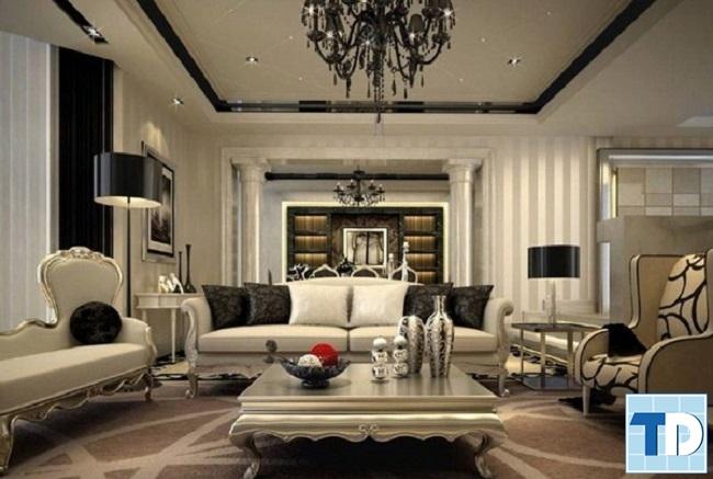 Phòng khách sang trọng với gam màu trung tính