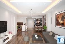 Đẳng cấp cùng thiết kế nội thất phòng khách chung cư gỗ óc chó