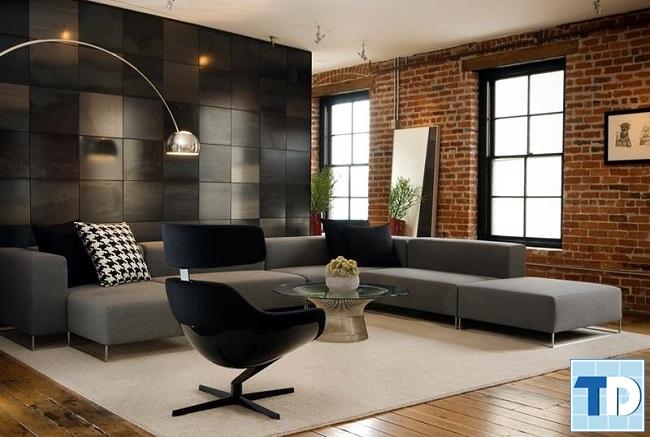 Mẫu phòng khách đơn giản mà mang tới nét độc đáo với bức tường gạch