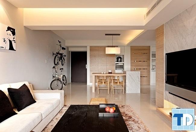 Phòng khách với thiết kế hiện đại đơn giản mà tinh tế