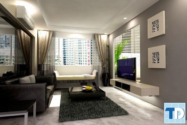 Phòng khách với gam màu trung tính lịch lãm