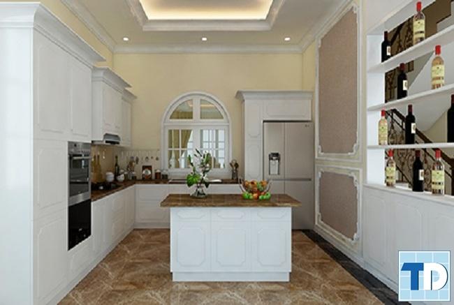 Phòng bếp sang trọng với gam trắng chủ đạo