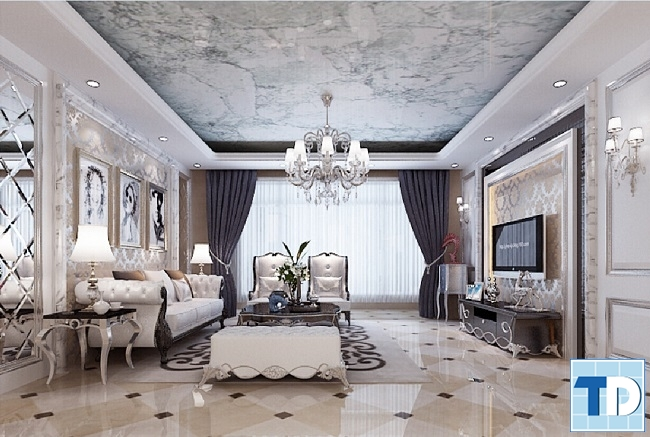Phong cách quý tộc thiết kế phòng khách chung cư tân cổ điển sang trọng