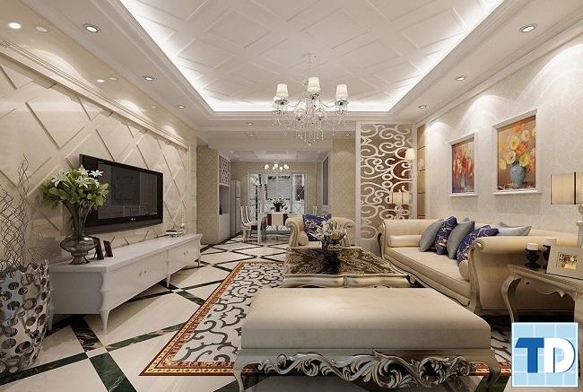 Phòng khách chung cư tân cổ điển đẹp với các họa tiết hoa văn tinh xảo