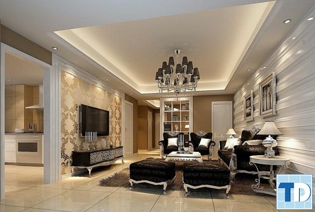 Phòng khách tân cổ điển đơn giản mà tinh tế